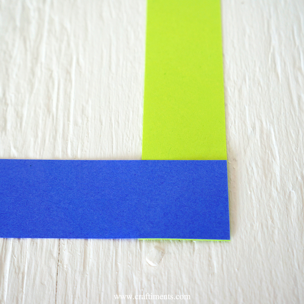 paper strips glued at right angles
