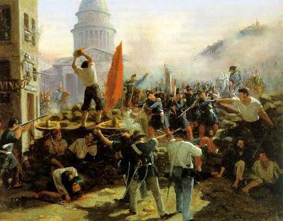 Pintura de la batalla en las barricadas Soufflot en Rue Soufflot Street el 24 de junio 1848