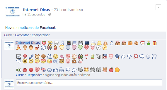 Novos emoticons do Facebook