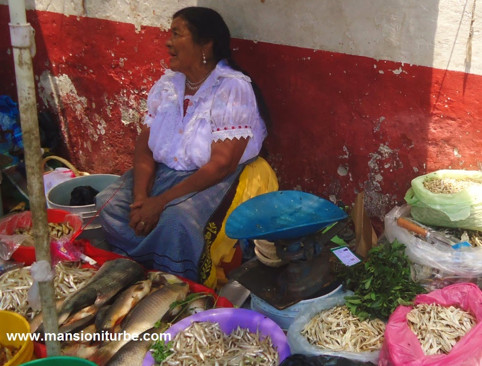 People from Lake Pátzcuaro come to the market with their products