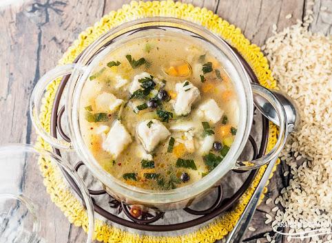 Zupa ryżowa z dorszem