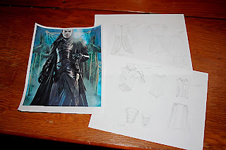 Lord Elrond costume deconstructed and sketched.