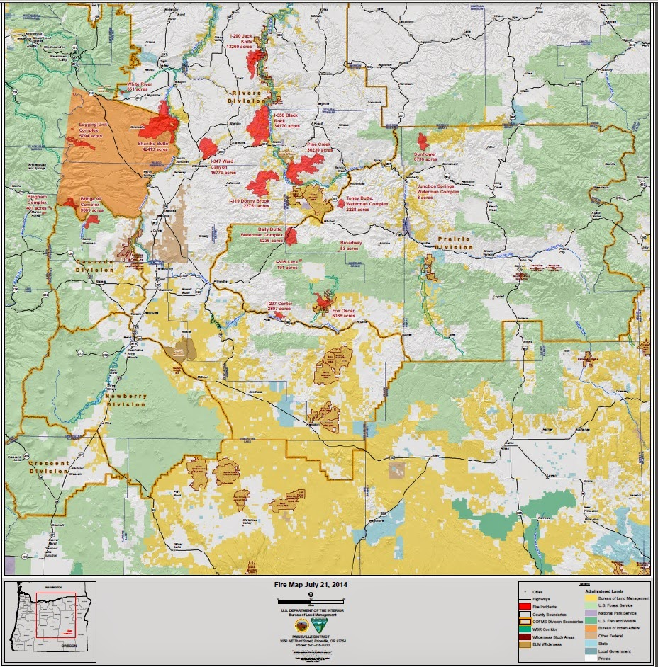 Central OR Fire Info Central Oregon Fire Area Map of Fires 721