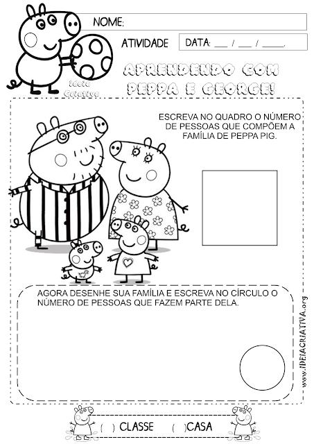 Atividade Família Identidade Peppa Pig