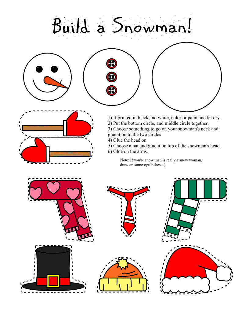 Print Snowmand And Snow Woman Craft in Color