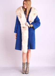 Vintage 1960's blue wool Lilli Ann Coat with light brown fox fur trim and collar.