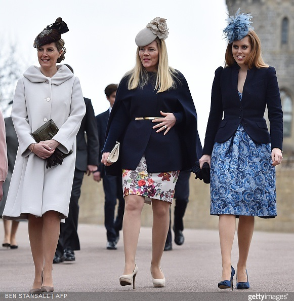 Britain's Sophie, Countess of Wessex, Autumn Philips and Britain's Princess Beatrice of York, arrive for the Easter Sunday church service at St George's Chapel, Windsor Castle, in Windsor, west of London