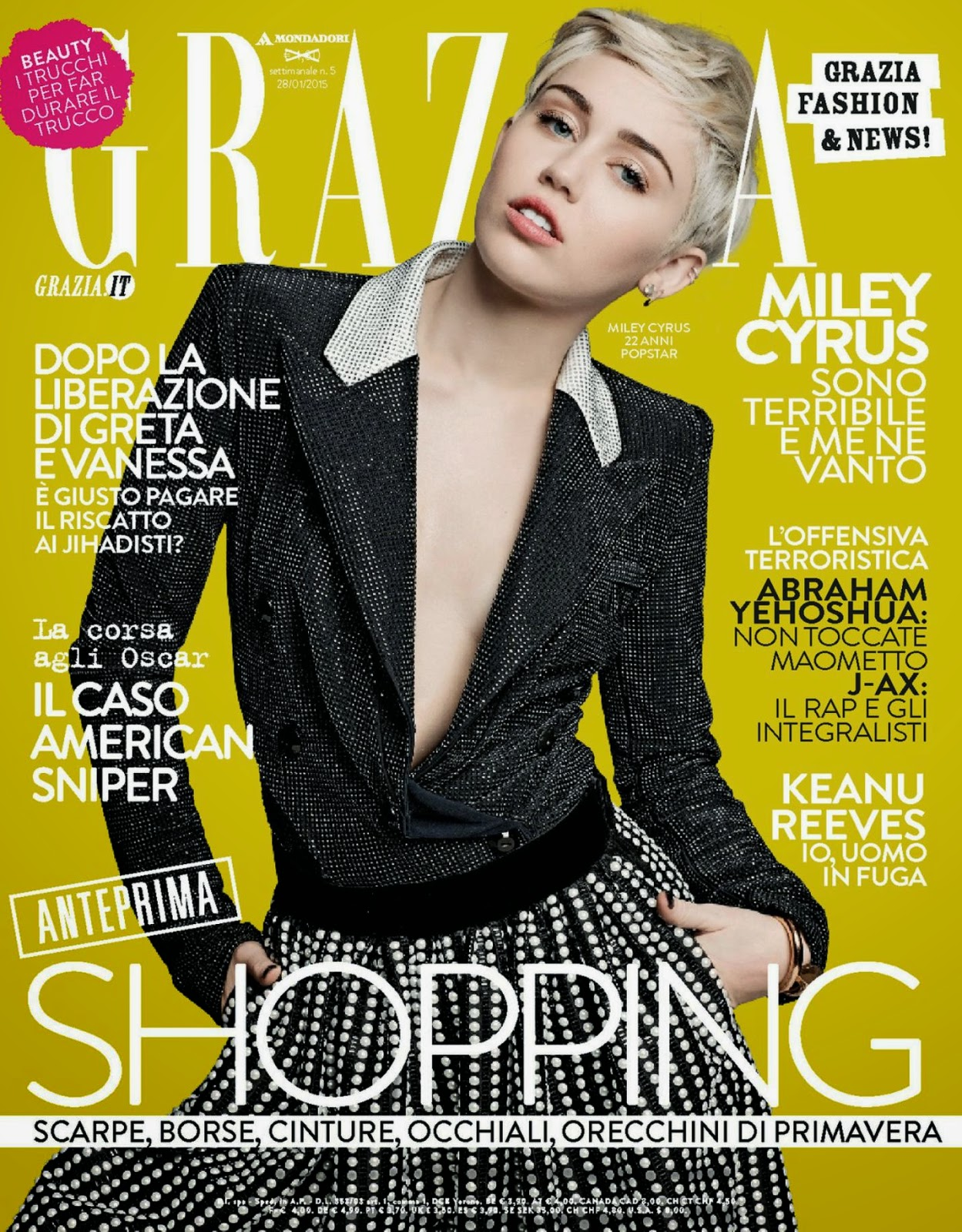 Singer, Actress: Miley Cyrus for Grazia, Italy