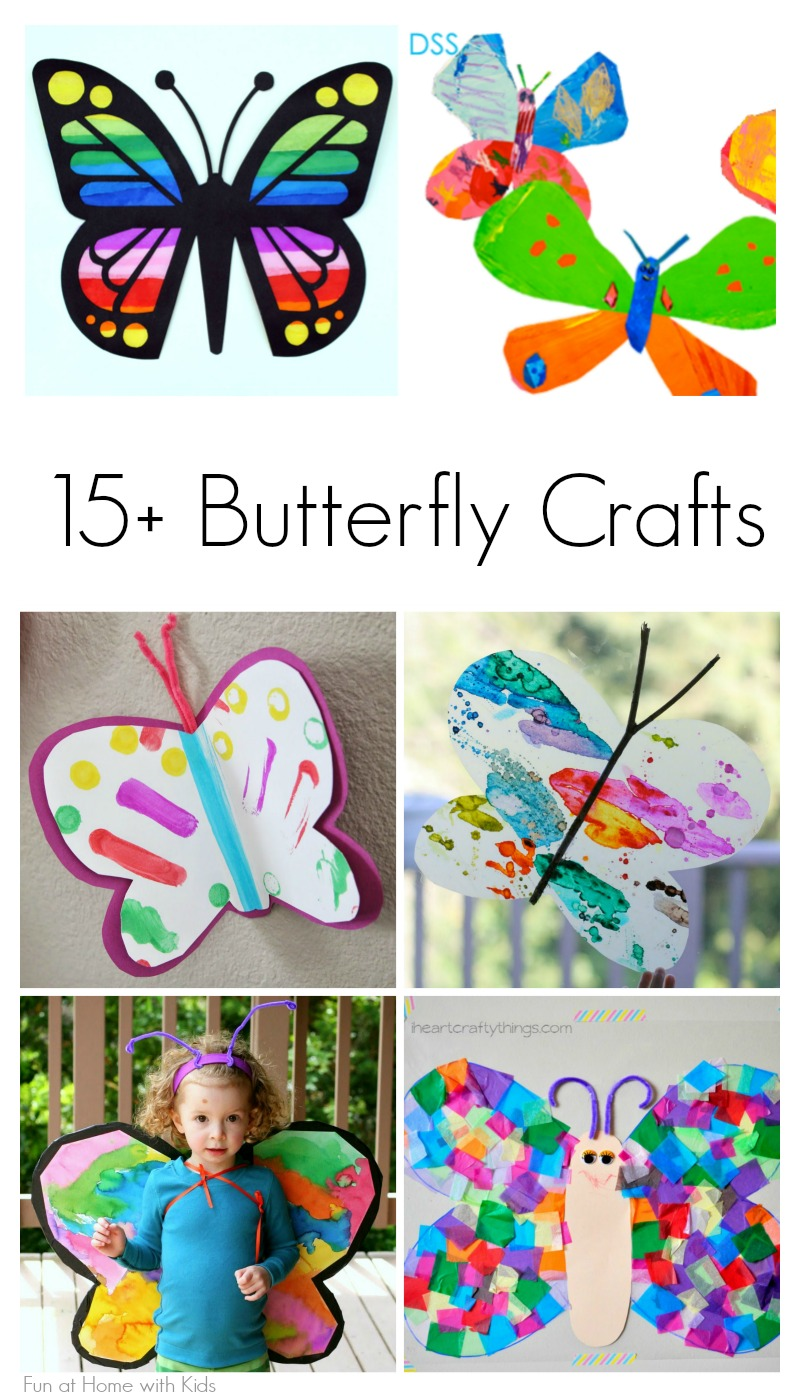 Over 15 beautiful crafts for toddlers, preschoolers, and elementary school children that celebrate spring butterflies from Fun at Home with Kids