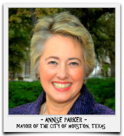 MAYOR ANNISE PARKER IS SERVING HER FINAL TERM IN OFFICE