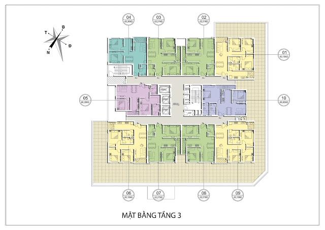 Mặt bằng căn hộ tầng 3 tòa A dự án Valencia Garden