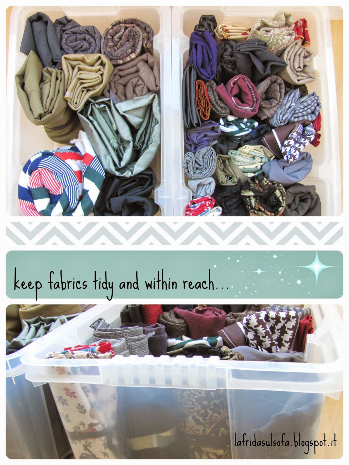 La frida sul sofà: Il mio modo per tenere in ordine e ben in vista le stoffe  - keep fabrics tidy and within reach in small places and boxes