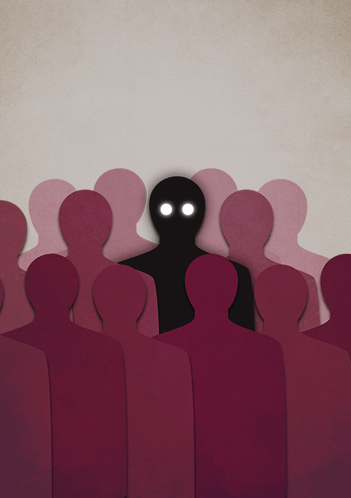Illustration of a dark human silhouette amongst crowd of humanoid shapes