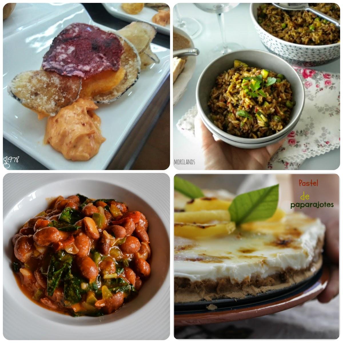 Platos del duodécimo Menú vegetariano con recetas de otros blogs.
