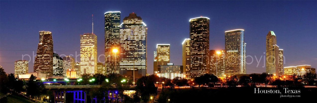 Houston Skyline At Night 12 Inches X 36 Inches