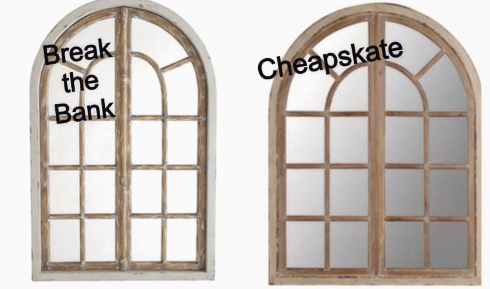 whimsy girl: Break the Bank vs. Cheapskate {Arch Window Frame Mirror}