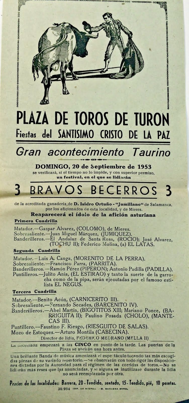 TURÓN MIERES CARTEL DE TOROS