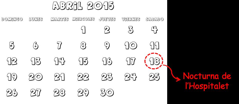calendario abril carreras cursas Nocturna Hospitalet