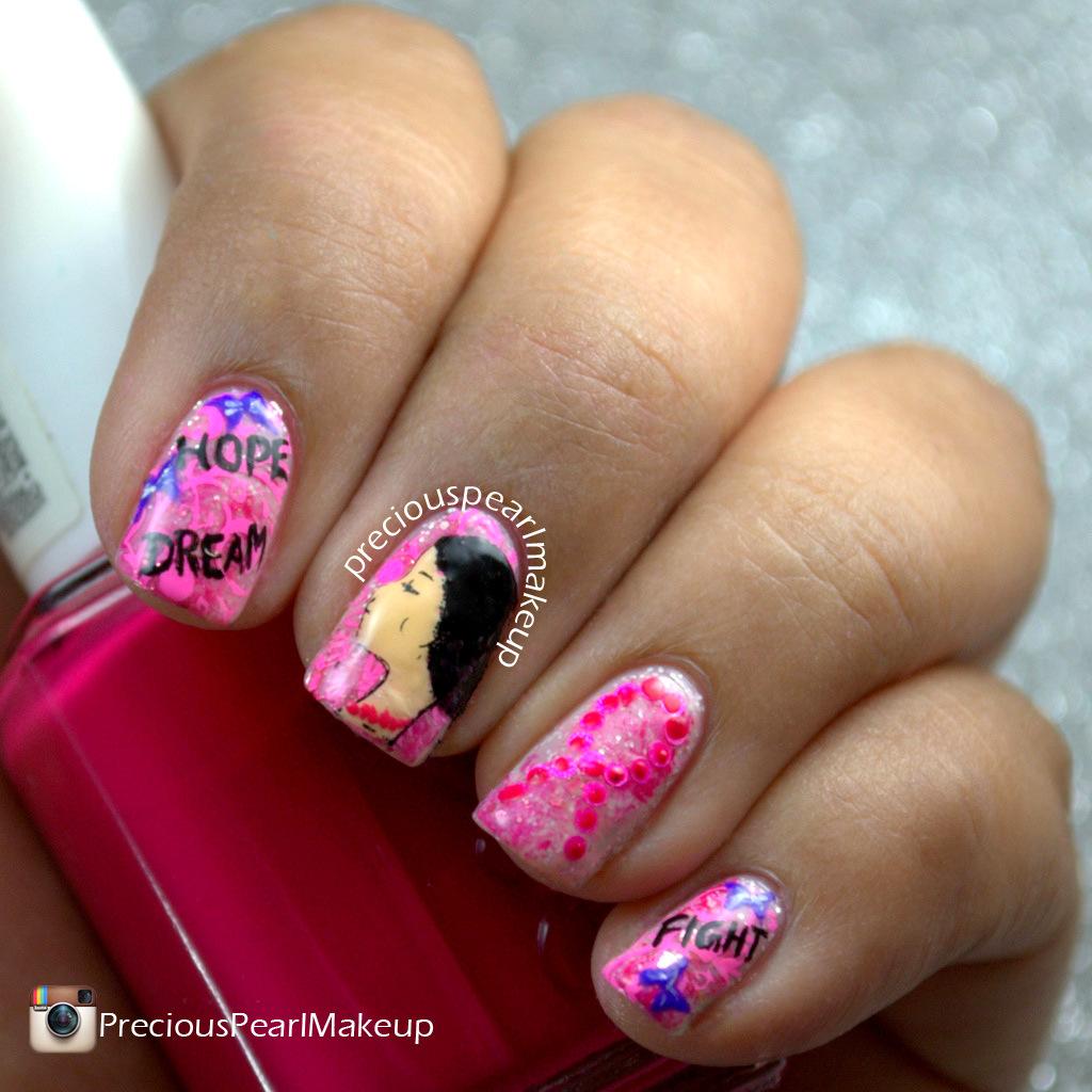 preciouspearlmakeup: Breast Cancer Awareness Nails 2015