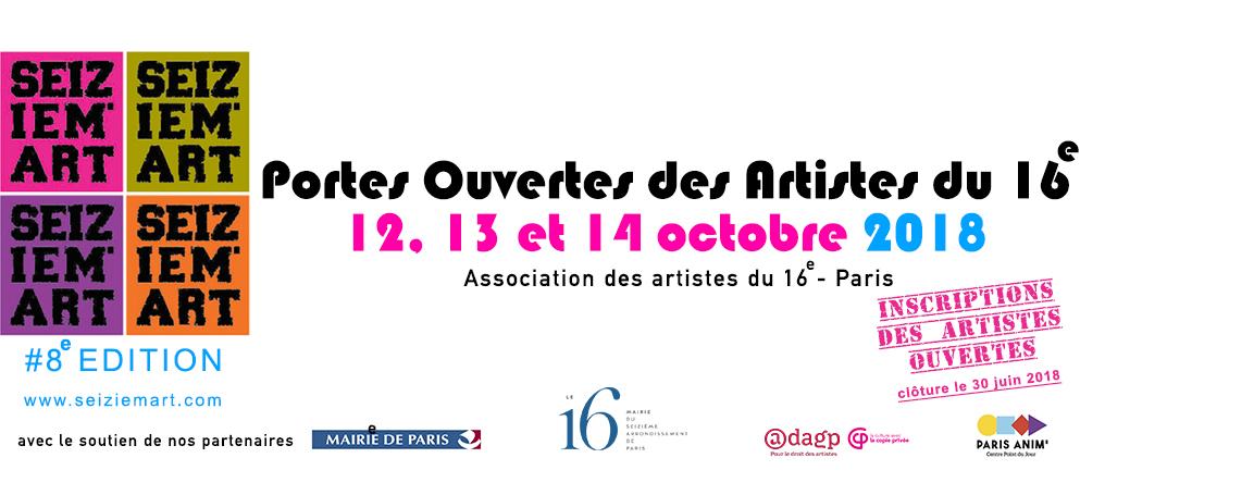 Seiziem'Art - Portes Ouvertes des artistes du 16ème - Paris  12-13-14 octobre 2018