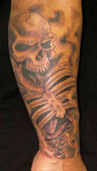 Laughing Skeleton Skull Tattoo
