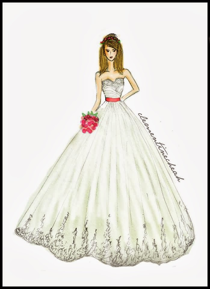 Clementine Cheah: Fashion Illustration : Lace Puffy Wedding Gown