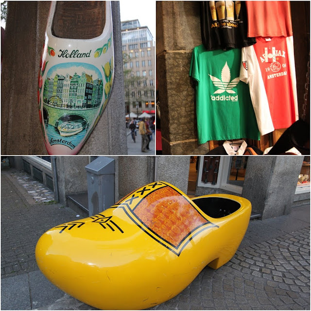 Popular souvenirs such as Holland Wooden Clogs and Shirts with Cannabis design in Amsterdam, Netherlands