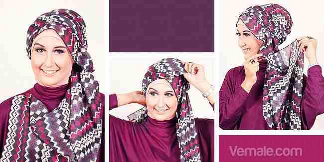 Tutorial Memakai Jilbab Motif Tribal