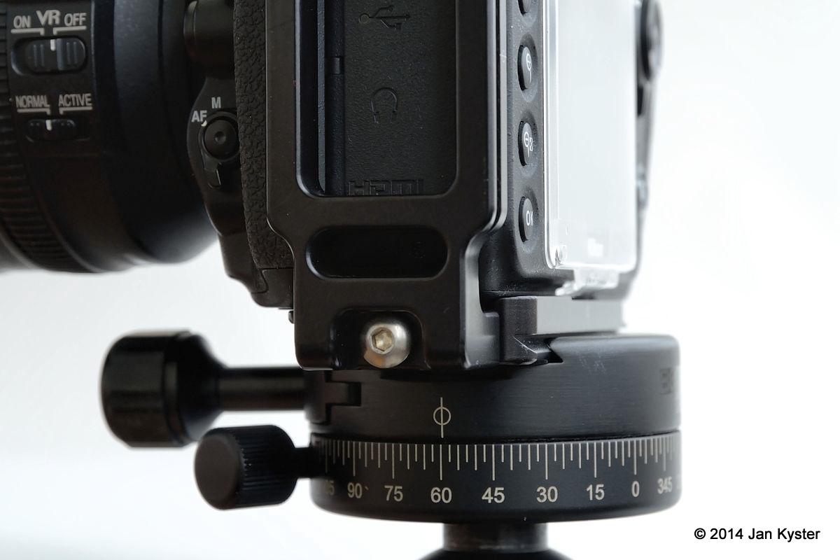 Nikon D800 w/ Hejnar ND800 MLB clamped left-side/back view