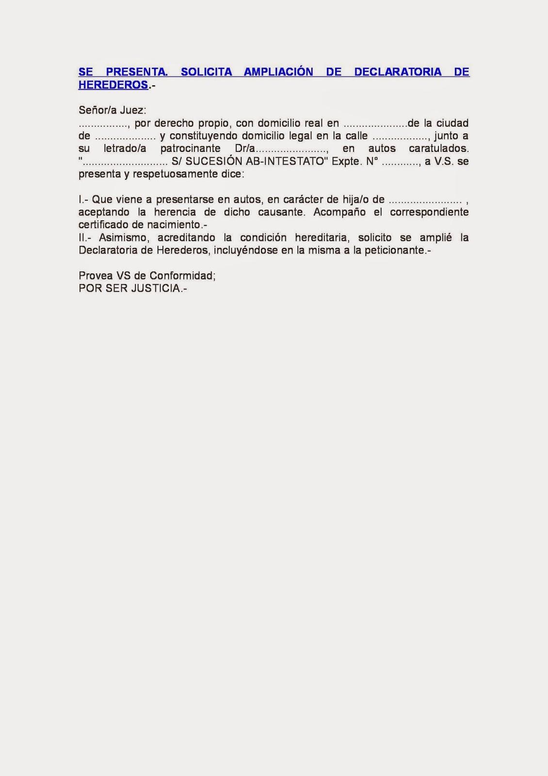 DERECHO SUCESORIO: MODELO DE AMPLIACION DE DECLARATORIA DE HEREDEROS