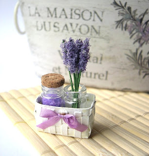 Lavender beauty basket for dollhouse