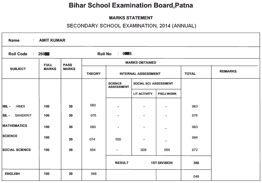 bseb matric 2014 result marks sheet