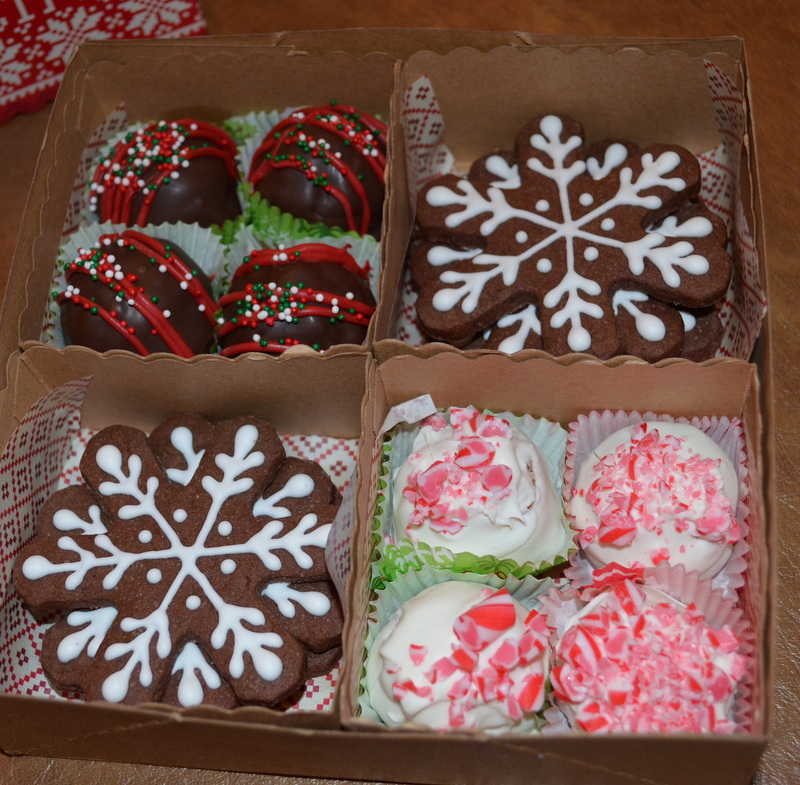 chocolate snowflakes and chocolate and candy cane cakebites