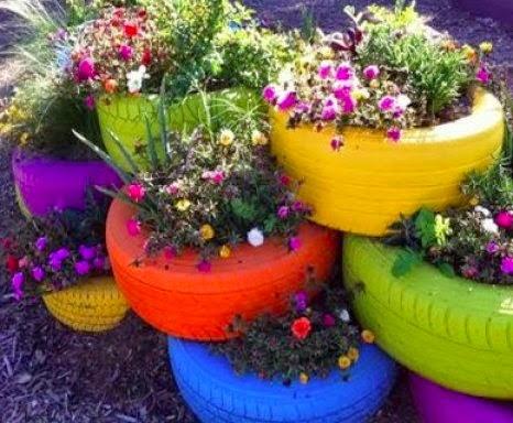Conseils d co et relooking id es originales comment recycler des vieux pneus - Decoration jardin avec des pneus ...