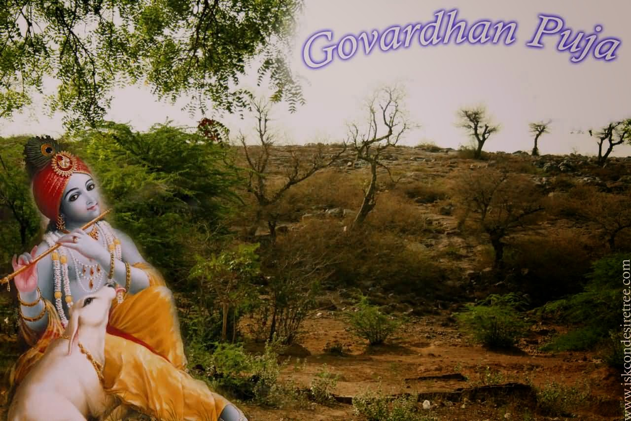Picture of Shri Gopal and Govardhan Hill - Happy Govardhan Puja