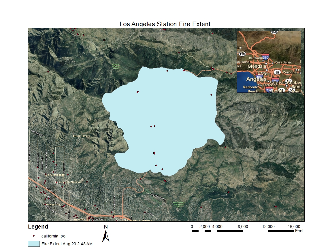 this series of maps shows the extent of the los angeles station fire as it grew over a few days in late august and early september 2009 whose shapefiles i