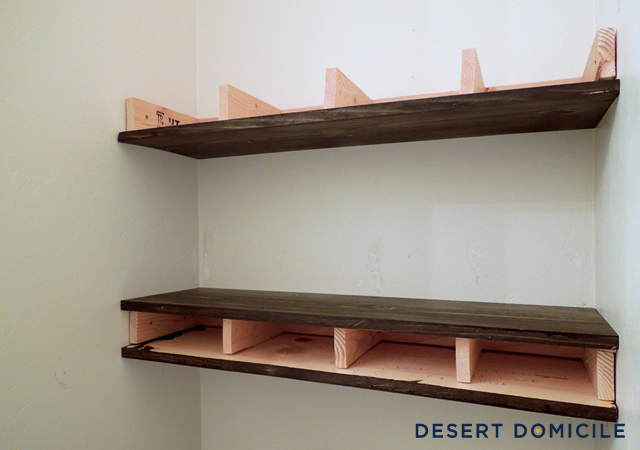 Floting Shelves diy $15 chunky wooden floating shelves | desert domicile
