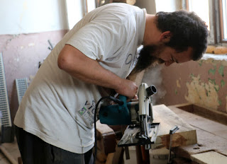 Here I am using the circular saw for the first time