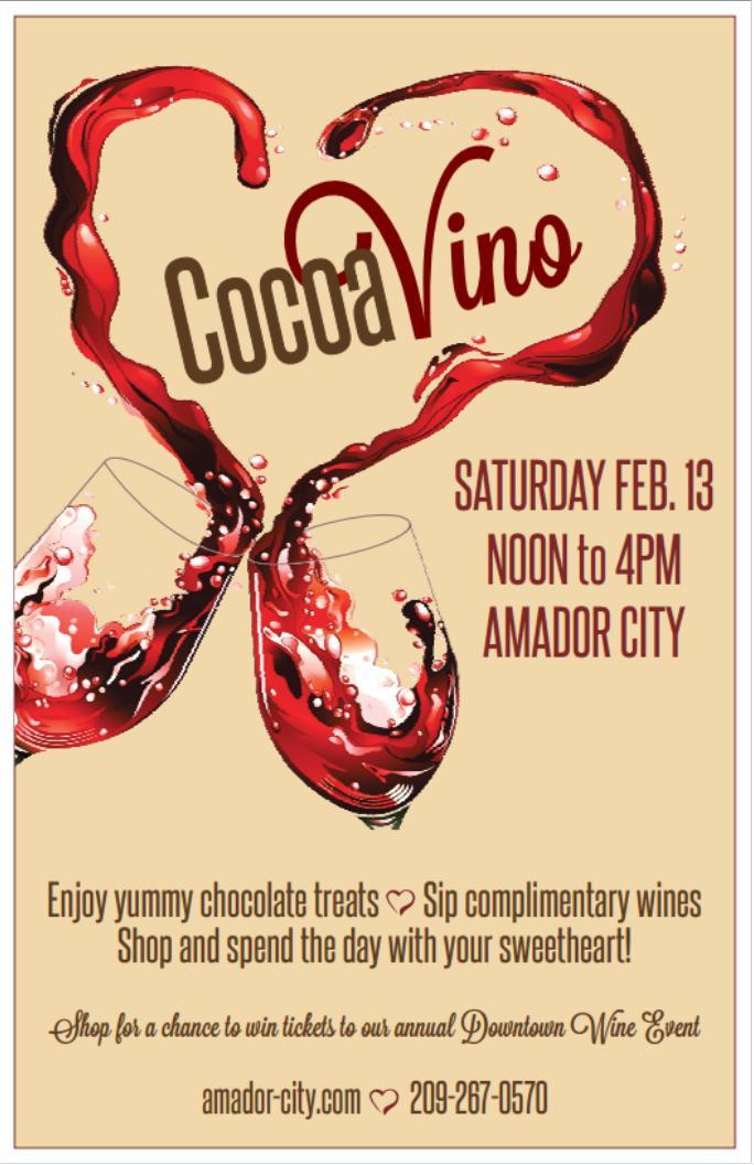 """CocoaVino"": Chocolate and Wine Tasting - Sat Feb 13"
