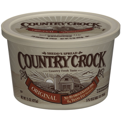 Brand: Country Crock. Showing 9 of 9 results that match your query. Search Product Result. Product - Country Crock Original Vegetable Oil Spread, 45 Oz. Product Image. Price. In-store purchase only. Product Title. Country Crock Original Vegetable Oil Spread, 45 Oz. See Details.