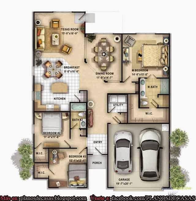 Planos de casas unifamiliares de un piso planos de casas for Plano casa un piso