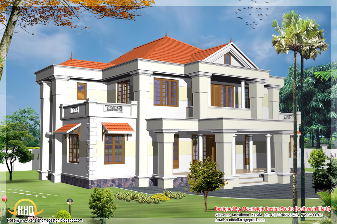 2 different 3d home elevations kerala home design and for Ground floor 3d elevation