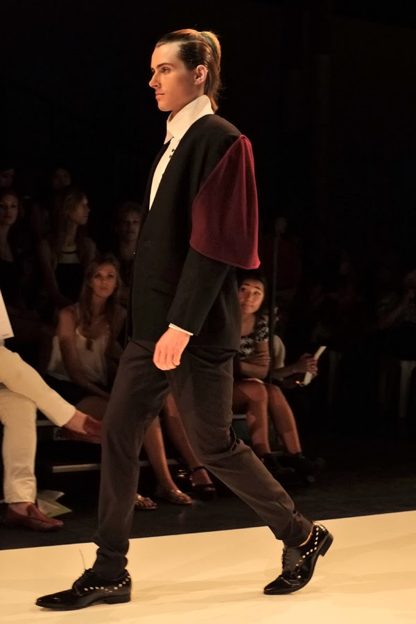 David Zheng; red caped jacket, white shirt black pants - Menswear : Raffles Graduate Fashion Parade 2013 Photography by Kent Johnson.
