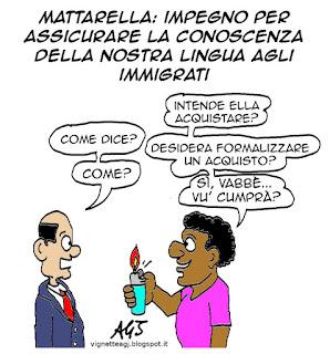 mattarella, immigrati, lingua italiana, vu cumprà, vignetta, satira