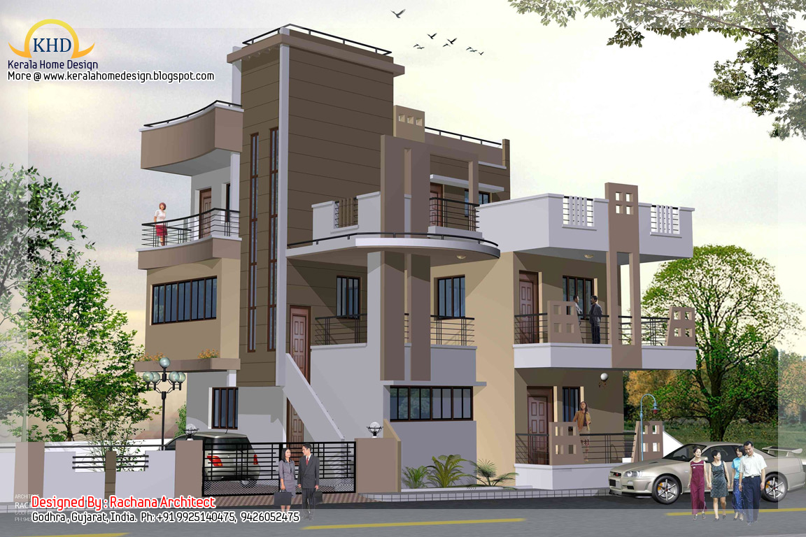 3 story house plan and elevation 2670 sq ft kerala for Three story house plans