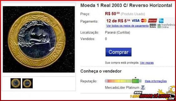 Perolas do Mercado Livre [02] - Moeda de 1,00 reais com versão horizontal