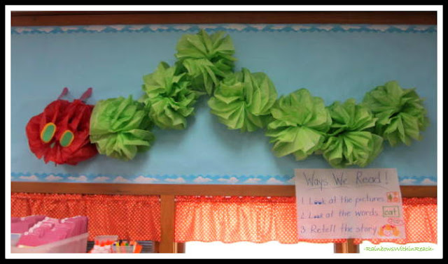 photo of: Bulletin board of Eric Carle's Hungry Caterpillar Classroom Decoration at RainbowsWithinReach