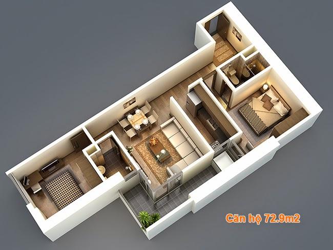 Thiết kế căn hộ 72,9m2 chung cư HP Landmark Tower