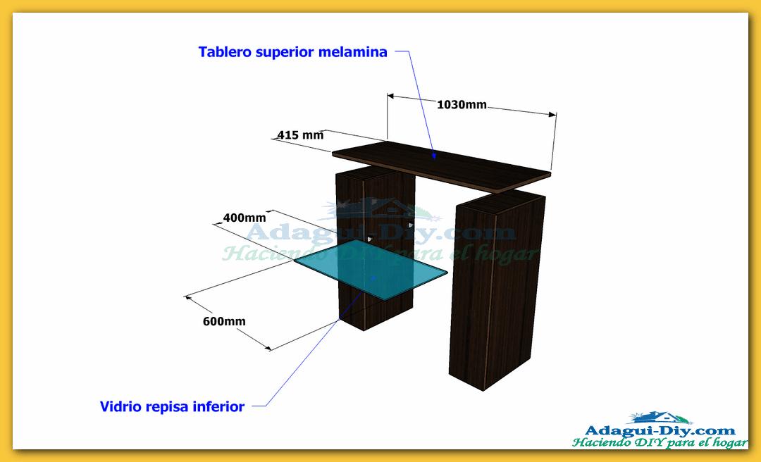 Mueble recibidor de melamina hall furniture diy de cocina for Planos para muebles de melamina