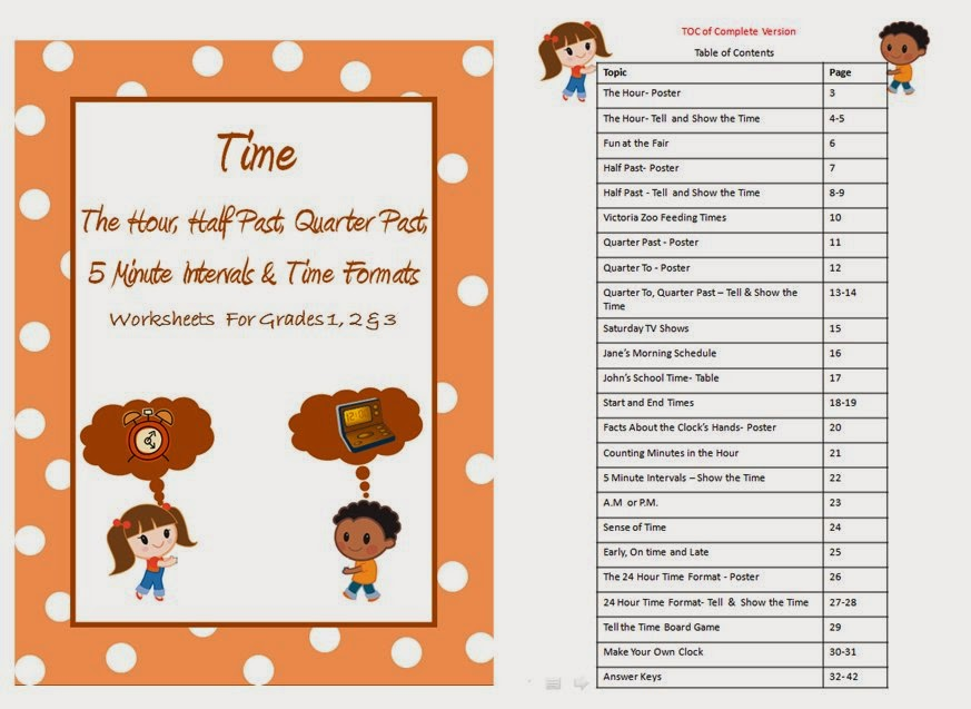 Time hour , half past, quarter past , 24 hour format worksheets for grade  1,2 & 3